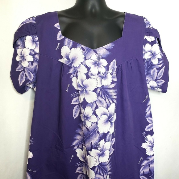 Vintage Purple Hawaiian Dress Plus Size 4XL